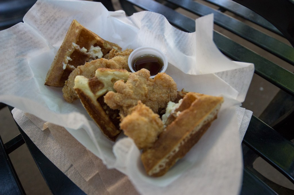 Chicken and waffles from Savory And Sweet. These guys always impress! Battered with cornmeal (I had to add a bit of salt, but I'm a saltaholic). Outstanding!!