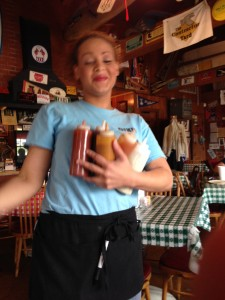 No Joke, She walked up with 8 sauces @ Dixie BBQ!