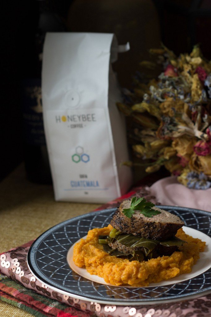 Spicy Braised Greens with Ginger Sweet Potato Puree