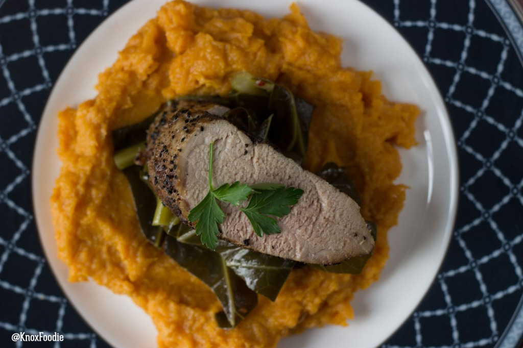 Spicy Braised Collards with Ginger Sweet Potato Puree
