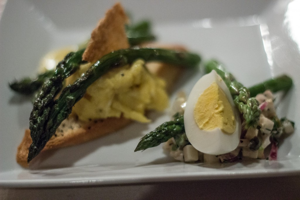 Sparkle Three Ways: Asparagus Salad with Celery Root and Hard Cooked Eggs, Asparagus Toast and Scrambled Egg, Roasted Asparagus with Hollydaise.