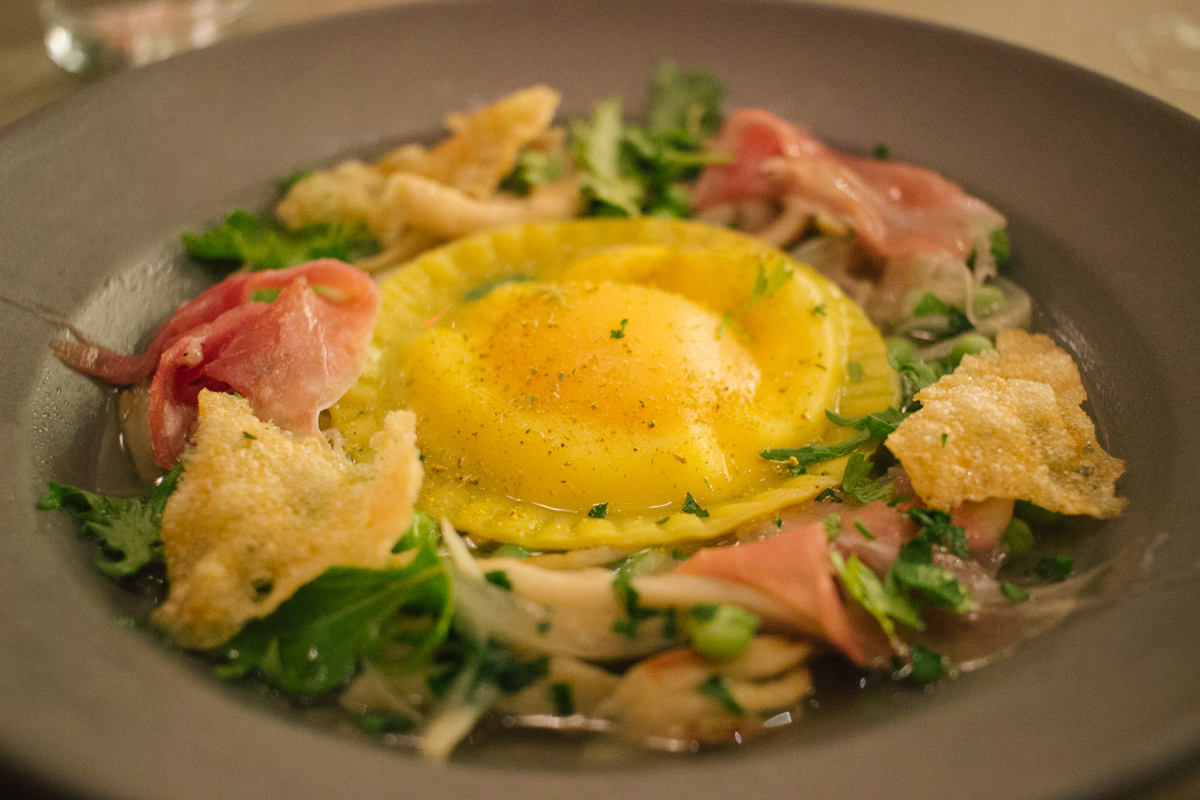 A Special Treat From The Chef who greeted us with a Whole Egg Ravioli