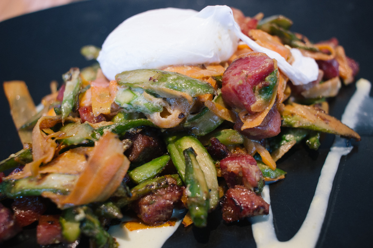 Asparagus 'Carbonara' with house-cured pancetta