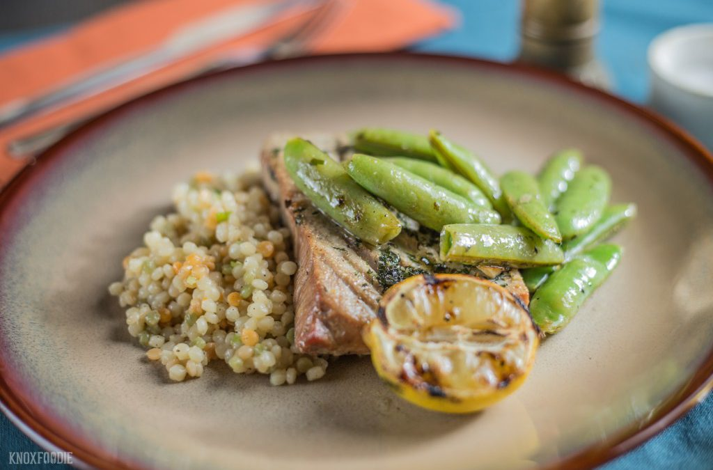 Yellowfin Tuna and Snap Peas with Couscous