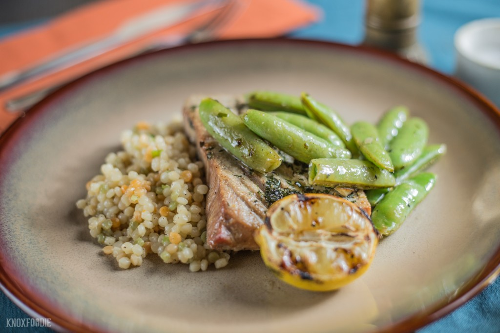 Sugar Snap Peas with Tuna and Couscous