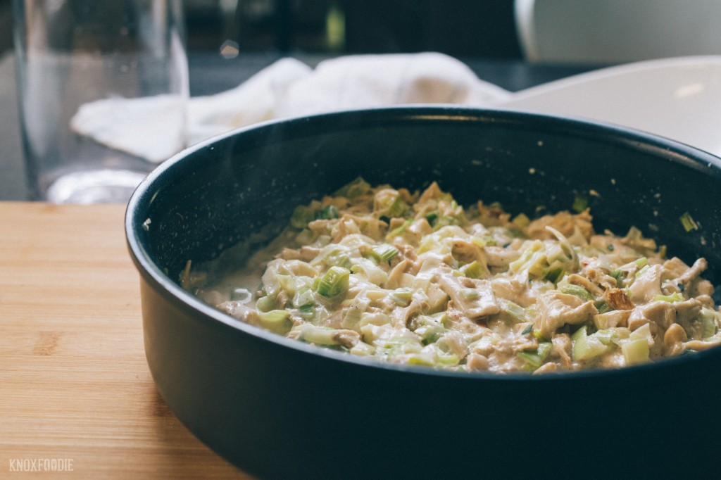 Creamy sauted leeks and oyster mushrooms.