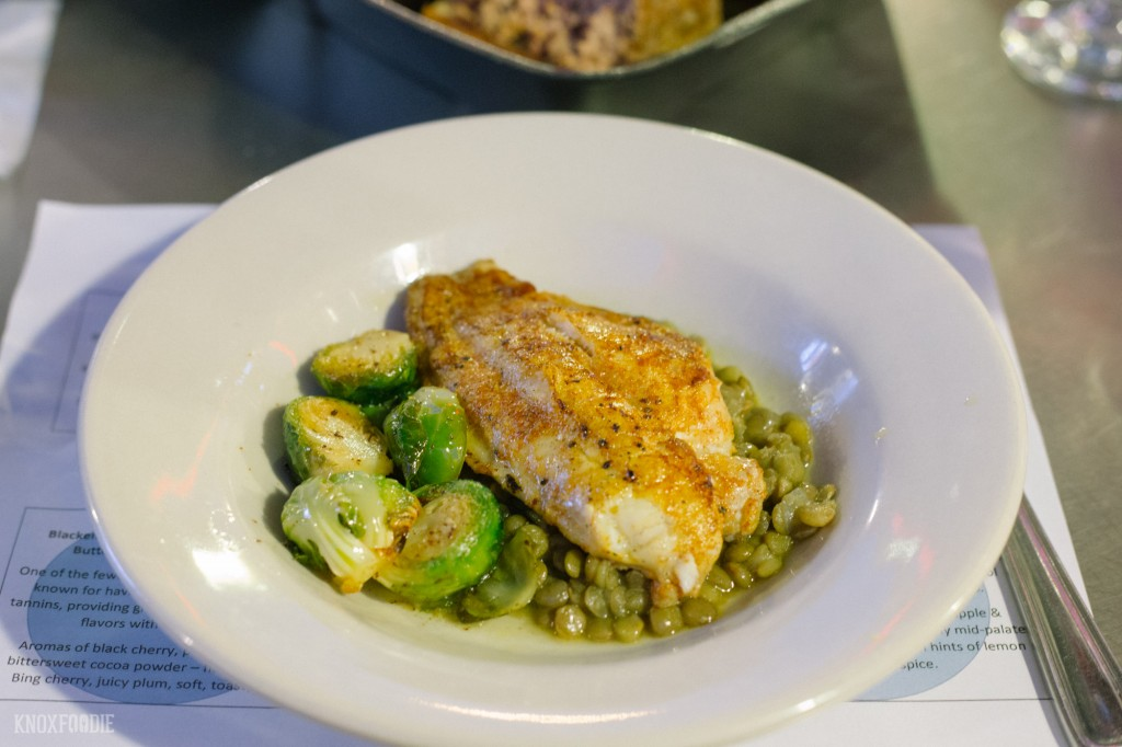 Blackened Catfish with Green Lentils and Brown Butter Brussel's Sprouts