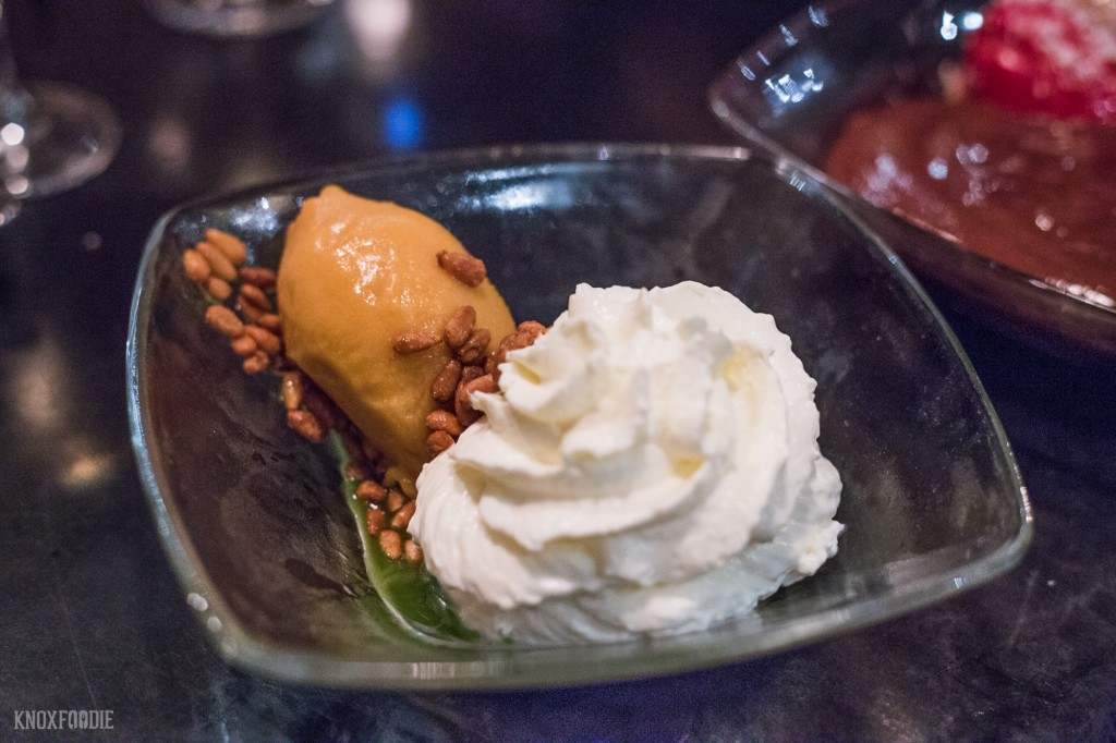 Sabores del Mediterraneo - Apricot Sorbet, Sweet Yogurt Mousse, Candied Pine Nuts and a Pine Oil which is made in-house with... you guessed it, pine needles.