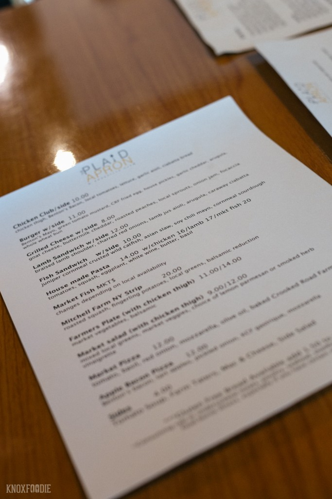A typical dinner menu at The Plaid Apron