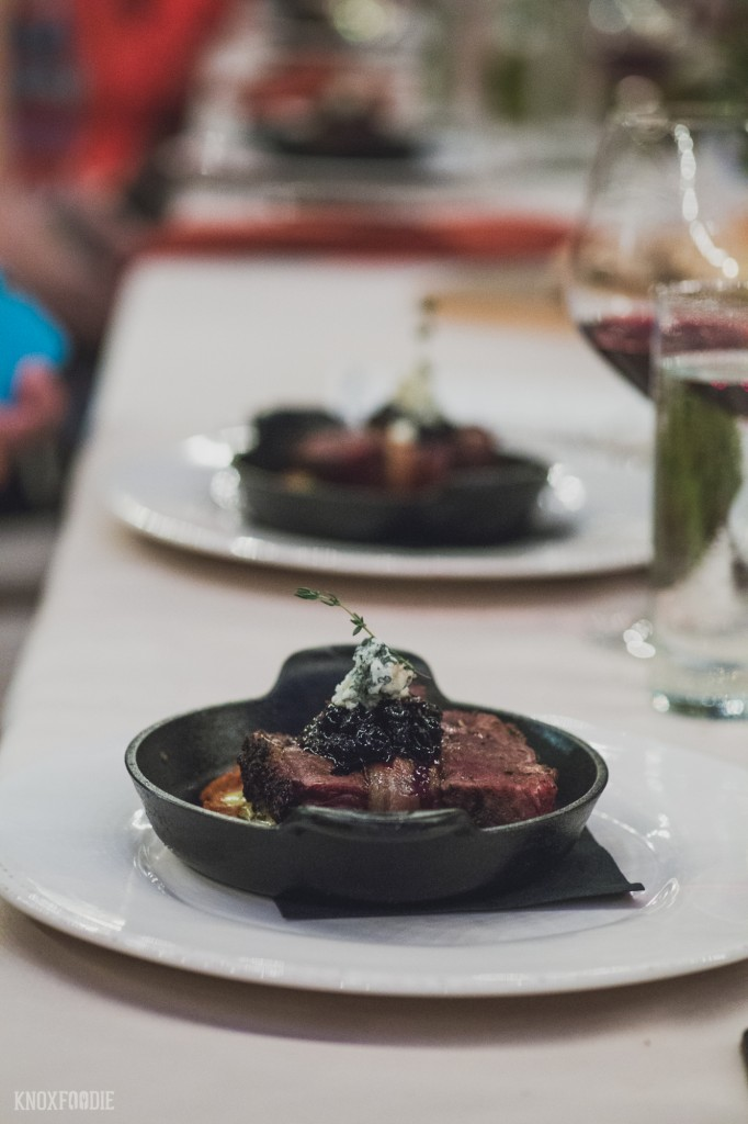 Bacon Wrapped Bison with Virginia Dare Pinot Noir