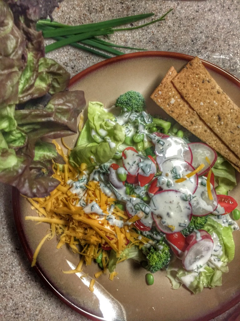 Salad with lettuce from Zavels Farm and housemade buttermilk dressing. Thanks Cruze Farm for the buttermilk! It's delicious!