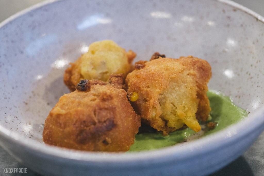 Hushpuppies with Basil Aioli at J.C. Holdway