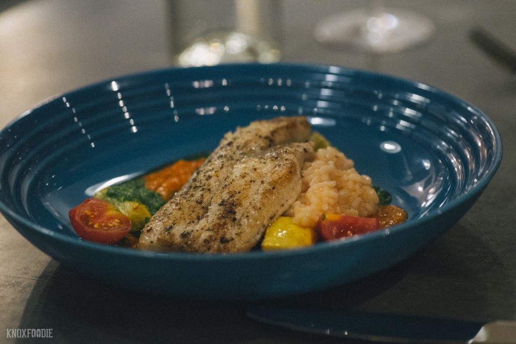 Catfish with Carolina gold rice, tomatoes and squash at J.C. Holdway