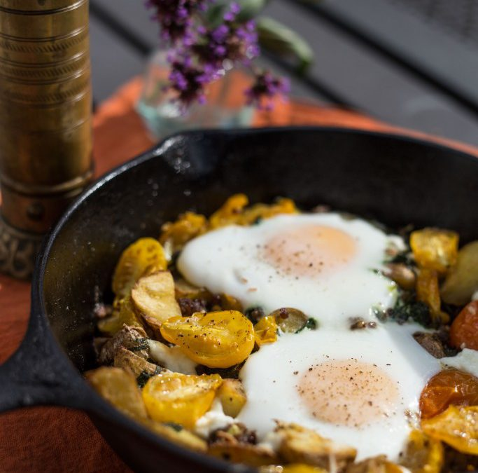 End of Season Breakfast Hash with Baked Egg