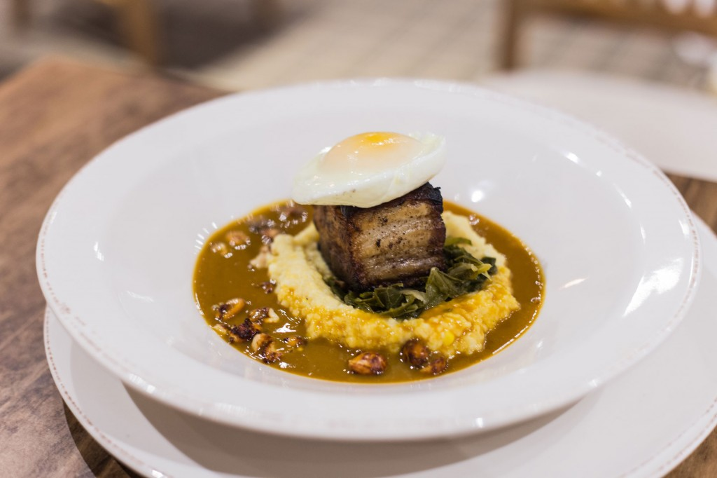 Lacquered Pork Belly Creamed Corn Grits & Egg