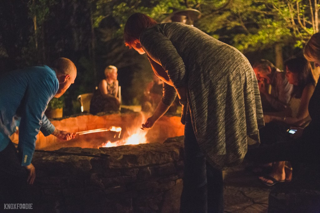 Fire pit and s'mores at Dancing Bear Lodge, Townsend, TN