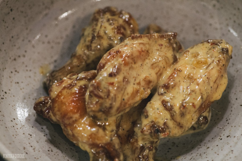 Crispy Smoked Wings with Alabama White Sauce at J.C. Holdway