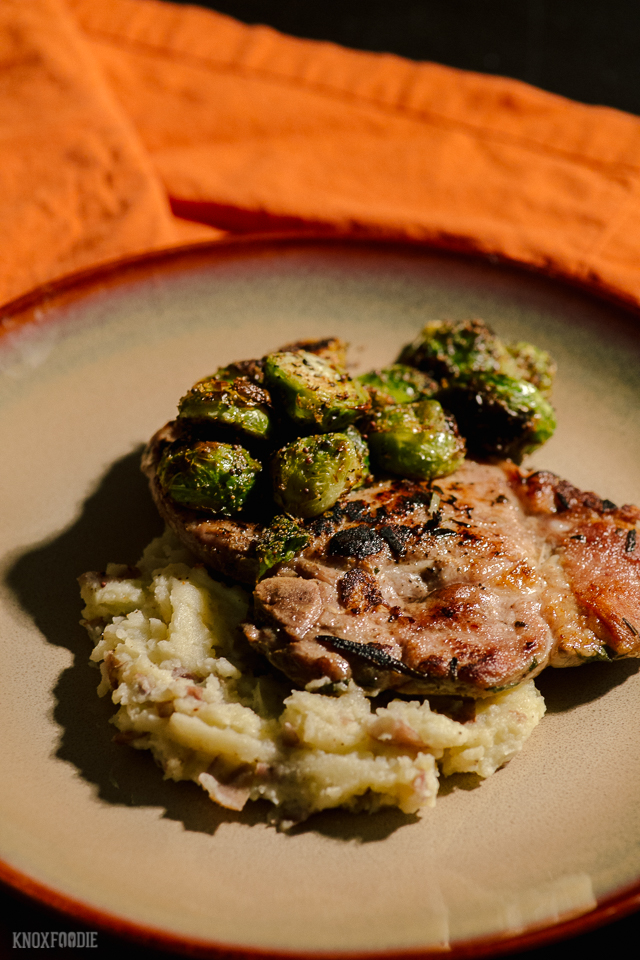 Sous Vide Pork Chops with Brussels Sprouts and Mashed Potatoes Whole30