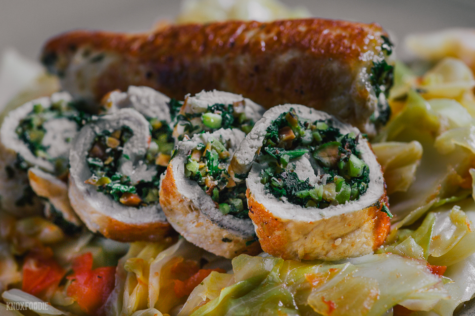 Whole 30, Paleo Pork Chop Roulade with Braised Cabbage